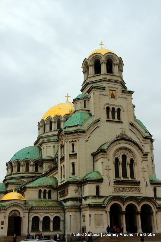 Exterior and shinning domes of Alexander Nevsky Memorial Cathedral in Sofia, Bulgaria