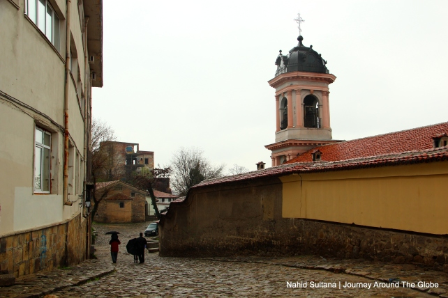 Steeple of Virgin Mary Church in Plovdiv, Bulgaria