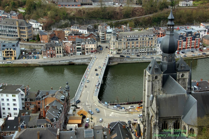 Breathtaking view of the city and river from Dinant Citadel in Belgium