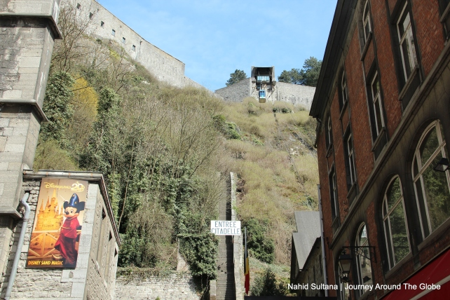 The steps of Dinant Citadel from the 16th century (on the left) and cable car on the top
