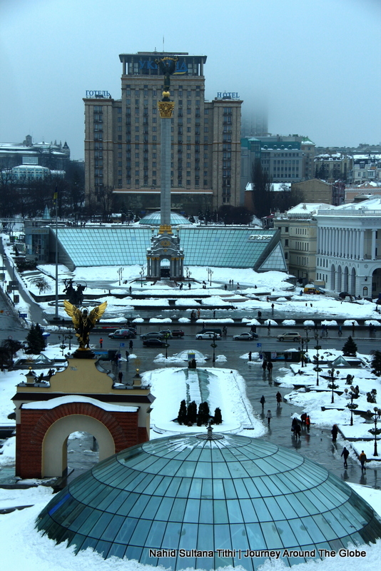 Independence Square from our hotel window in Kiev, Ukraine
