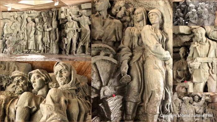 A collage of many statues near Motherland Statue in Kiev, Ukraine