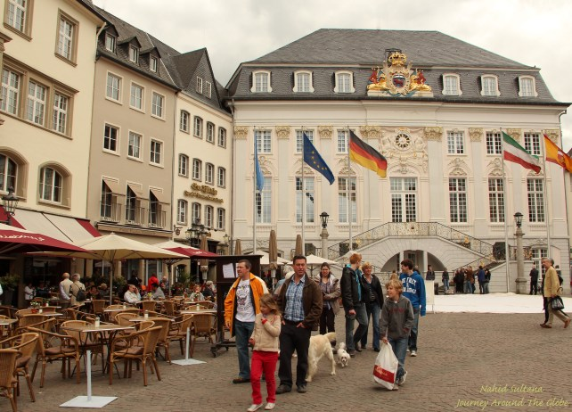 Altes Rathaus (Old Town Hall) on the right in Marktplatz of Bonn's city center