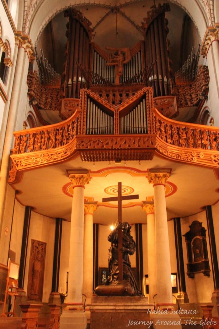 The old church organ inside Das Bonner Munster in Bonn, Germany