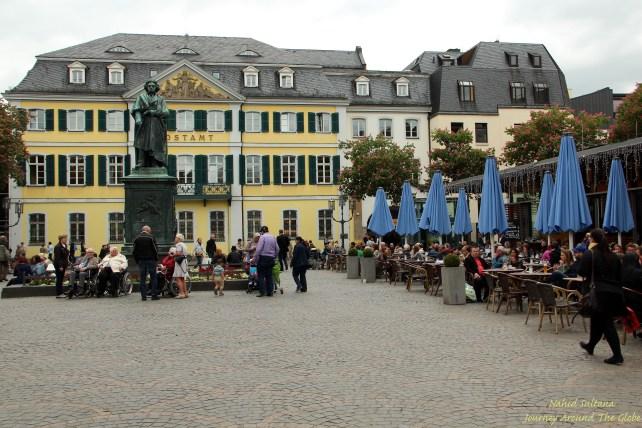 Statue of Ludwig van Beethoven in Munsterplatz in Bonn, Germany