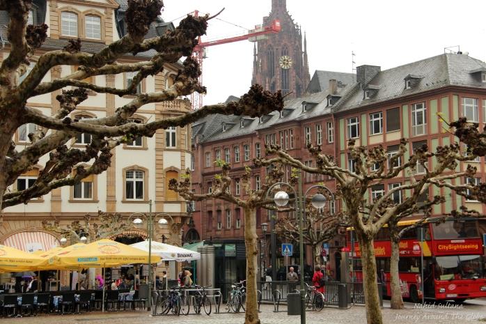 Walking around old district of Frankfurt, Germany