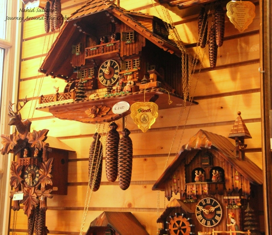 Cuckoo clocks are everywhere in the souvenir shops of Frankfurt, Germany