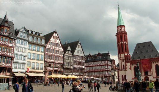 Buildings of Romerberg and Alte Nikolaikirche (on the right) in Frankfurt, Germany