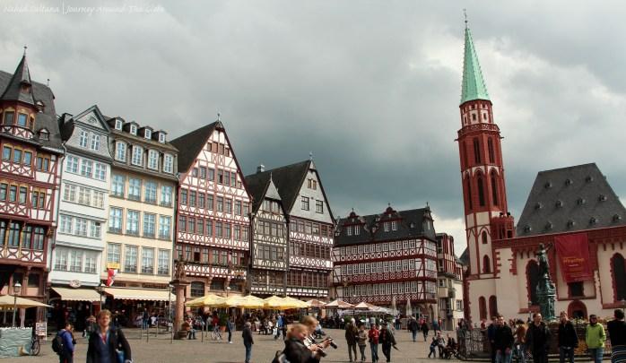 Buildings of Romerberg and Alte Nikolaikirche (on the right) in Frankfurt, Germany