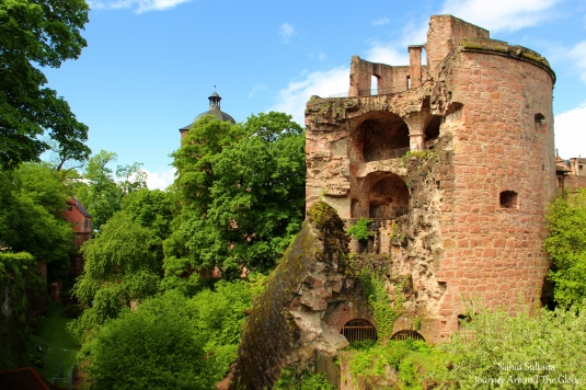 Ruins of Heidelberg Castle from its park in Germany