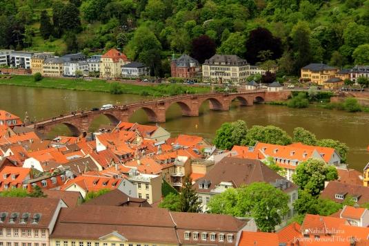 Alte Brucke - a pedestrian bridge on River Necker in Heidelberg, Germany