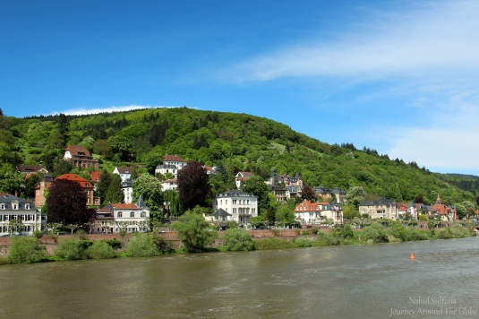 River Necker and its bank in Heidelberg, Germany