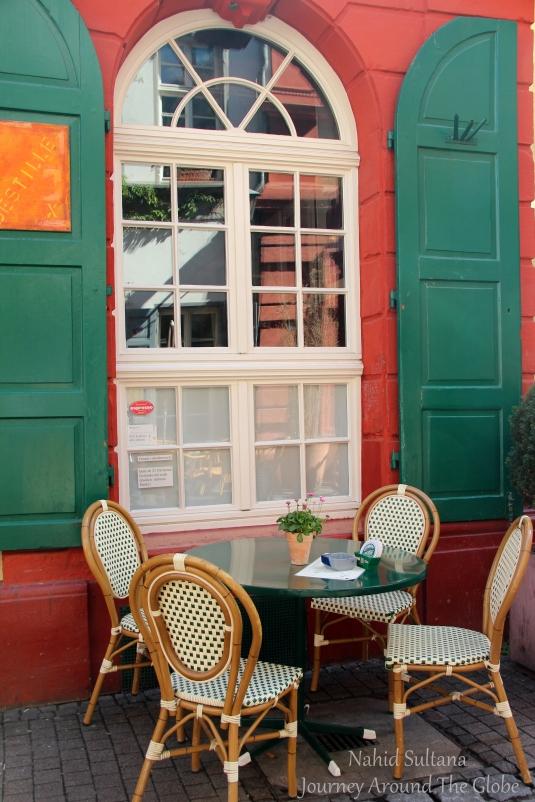 One of many cozy cafes of Heidelberg, Germany