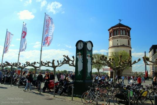 Castle Tower or Schlossturm in Burgplatz of Dusseldorf, Germany