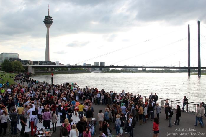 Rhine Tower and Promenade by River Rhine in Dusseldorf, Germany