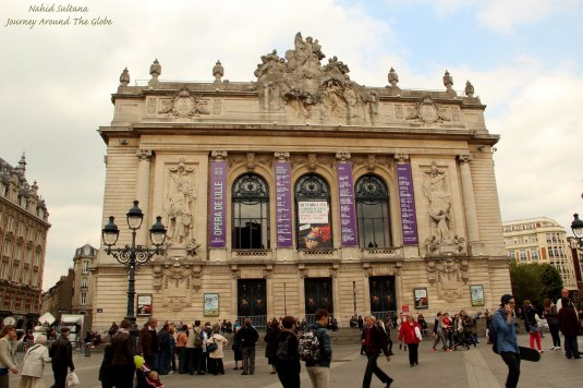 Opera house in Place du Theatre in Lille, France