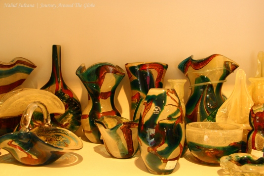 Handmade Mdina glasses in a shop in Valletta, Malta