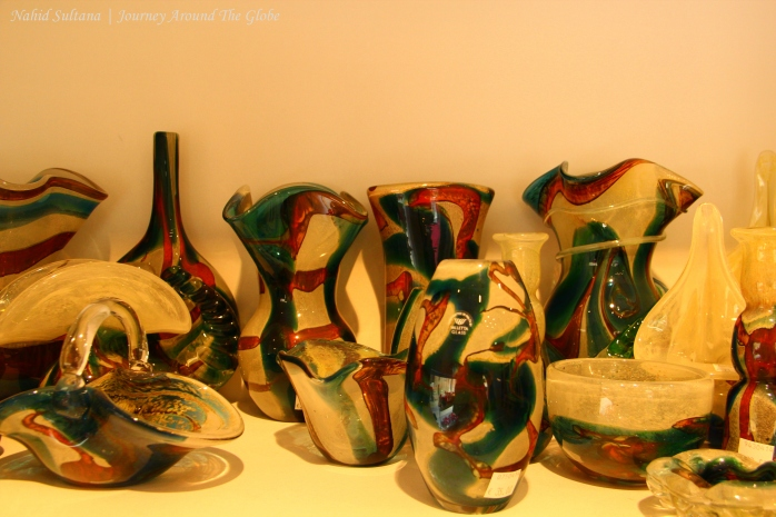 Handmade Mdina glasses in a shop in Valletta, Malta