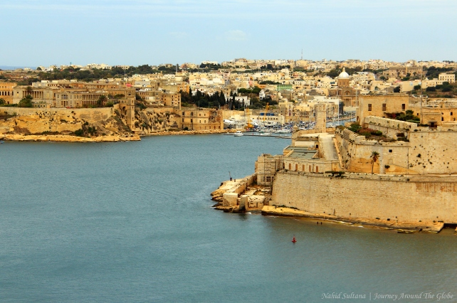 Looking over Grand Harbor from Upper Barracca Garden in Valletta, Malta