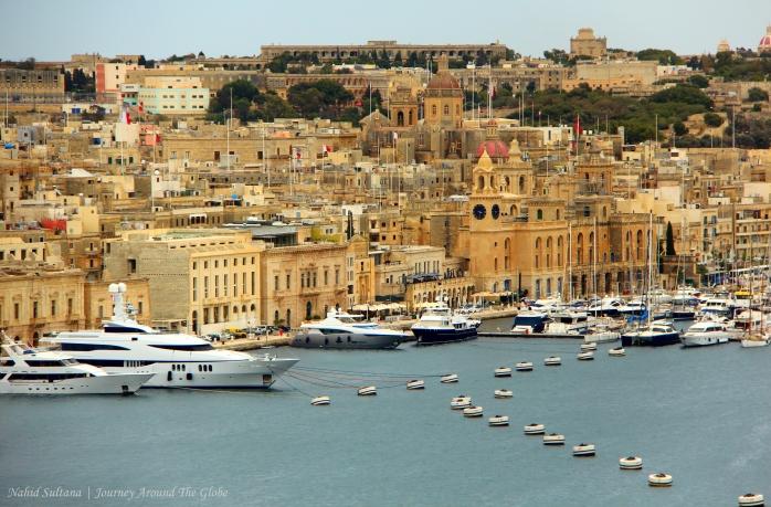 Looking over Grand Harbor from Upper Barracca Garden in Valletta, Malta