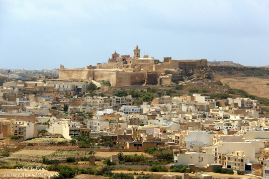 Rabat or Victoria, the capita of Gozo Island in Malta, you can see Gozo Citadel in the distance