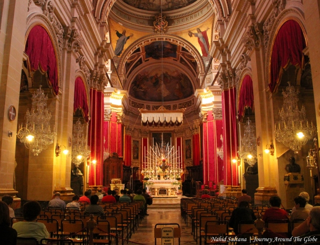 Inside Gozo Cathedral or Citadel Cathedral in Gozo, Malta