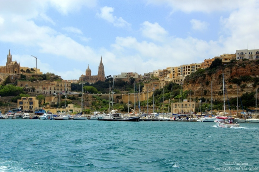 That's Gozo from our boat, heading towards Comino in Malta