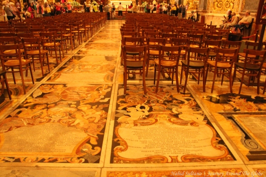 Inlaid marble memorial slabs on the floor in St. John's Cathedral of Valletta, Malta