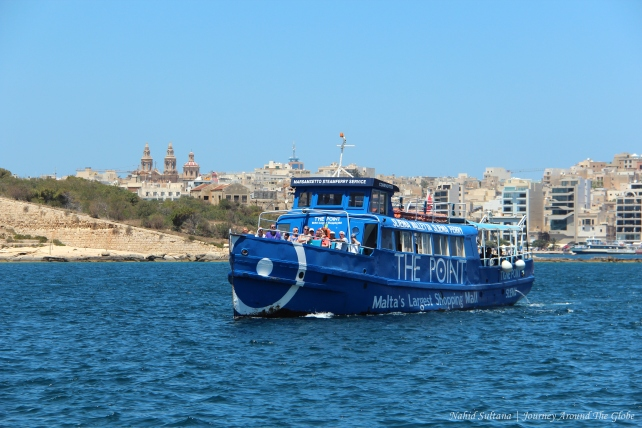 The blue ferry that connects Sliema and Valletta in Malta