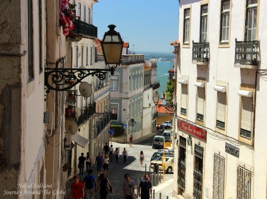 Alfama neighborhood near St. George's Castle in Lisbon, Portugal