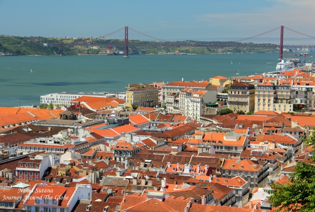 View of River Tagus, Bridge 25th April, and Alfama neighborhood in Lisbon, Portugal