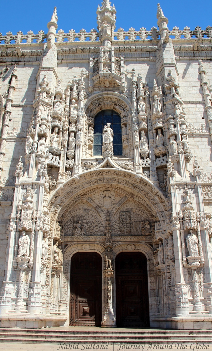 Main façade of Jeronimos Monastery in Lisbon, Portugal