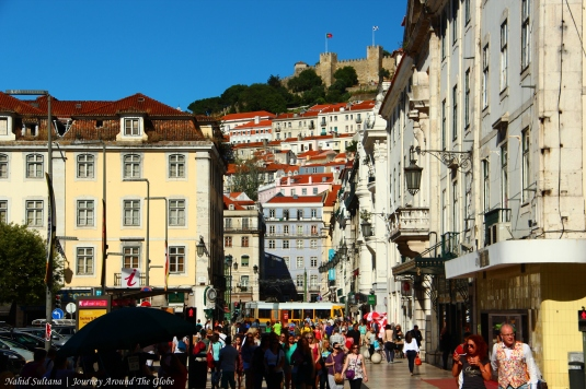 Old town of Lisbon, Portugal - you can see St. George's Castle in the back