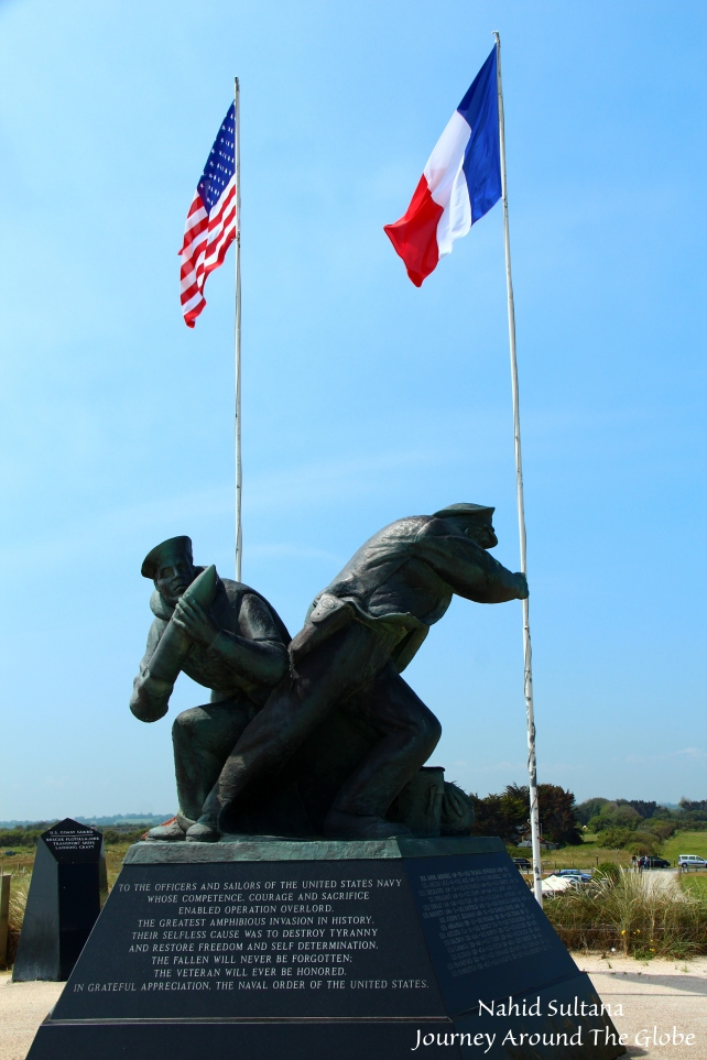 A memorial in Utah Beach commemorating the US braves in Normandy, France