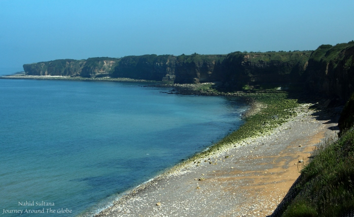 Beautiful cliffs of Pointe du Hoc in Normandy, France - a historical site of Normandy Battle