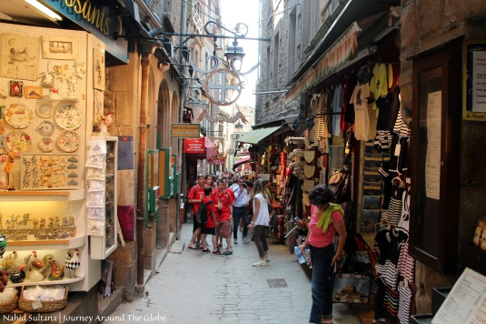 Shops in the island of Mont St. Michel in Normandy, France