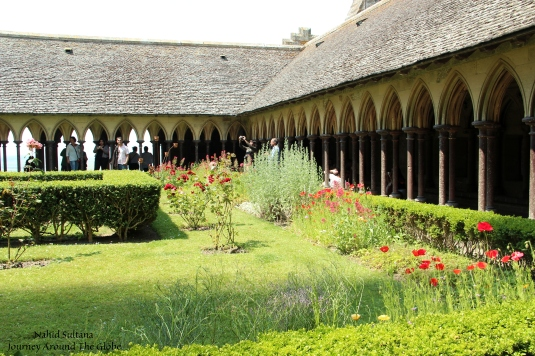Cloister of the abbey in Mont St. Michel in Normandy, France