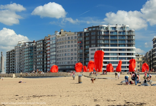 Promenade of Ostend Beach in Belgium
