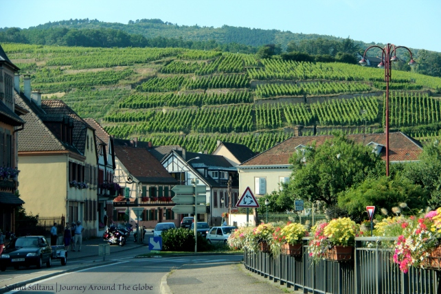 "Driving on ""Wine Route of Alsace"" in Alsace, France"