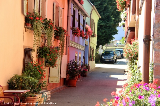 Summer blooms in Kayserberg, France - a small village in Alsace