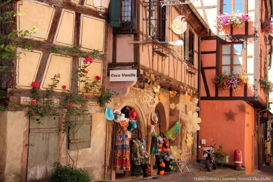 Cozy old town of Riquewihr, France