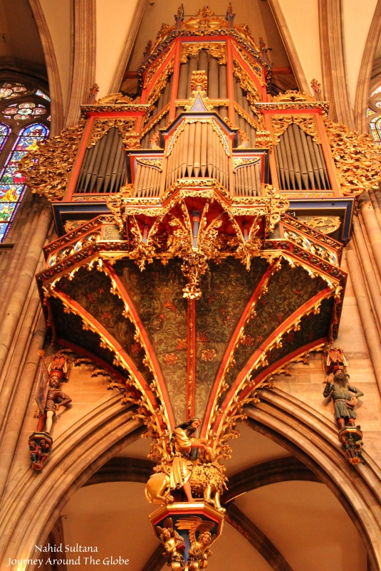 Ornate organ of Strasbourg Cathedral in France