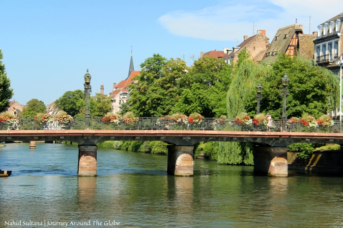 A beautiful bridge on River Ill in Strasbourg, France
