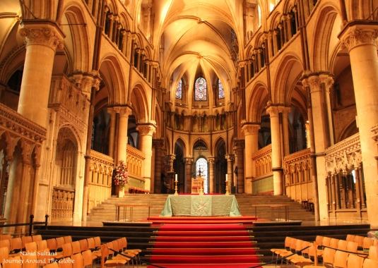 Inside Canterbury Cathedral in England