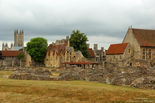 Walking and enjoying late afternoon in St. Augustine's Abbey, can see Canterbury Cathedral in the back