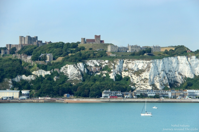 Reaching Dover Port, saw chalk white cliffs of Dover with Dover Castle in the backdrop in England