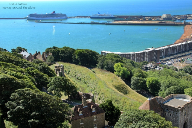View of English Channel and Dover Port from Dover Castle in England