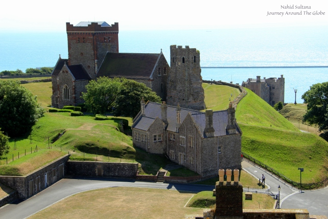 Roman lighthouse (right) and Church of St Mary-in-Castro (left) in Dover Castle