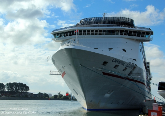 Our ship, Carnival Legend, docked in Warnemunde Port