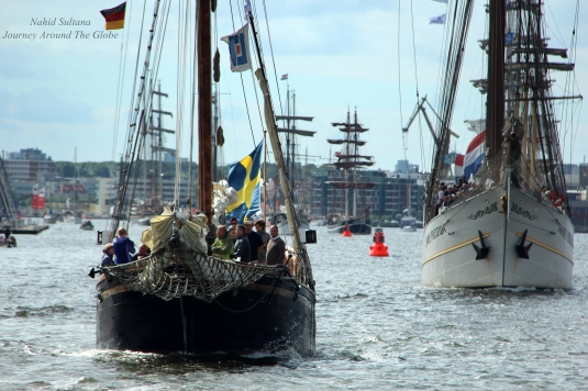 Boats on procession in Hanse Sail, on our way to Rostock from Warnemunde